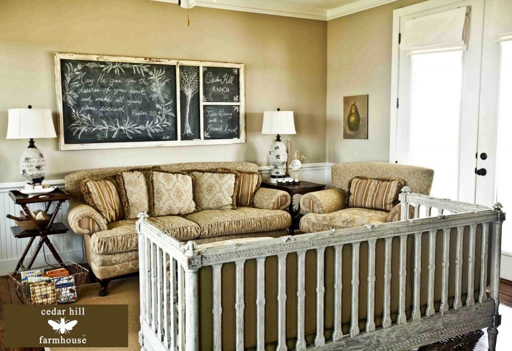country living room with screen door