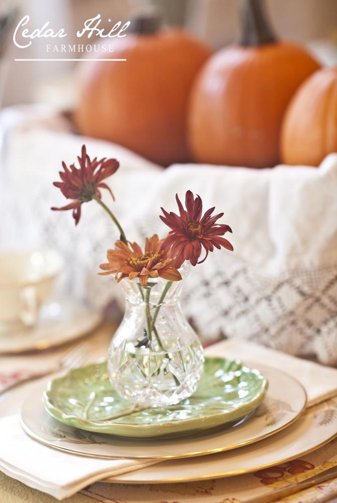 flowers on plates