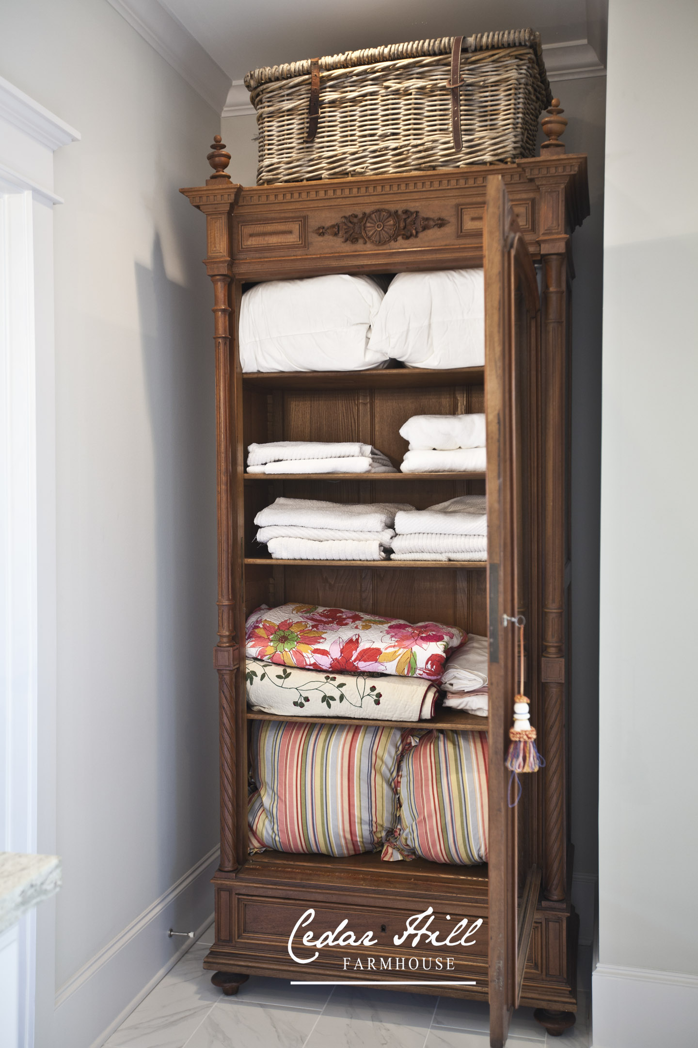 Antique Armoire Turned Linen Closet - Cedar Hill Farmhouse
