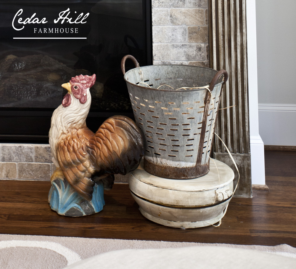rooster and olive bucket