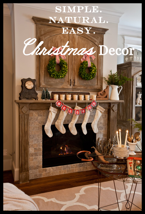Simple christmas decorations with greenery and ribbon for Farmhouse christmas decorating ideas