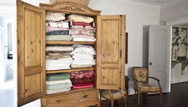 Antique Armoire Turned Linen Closet