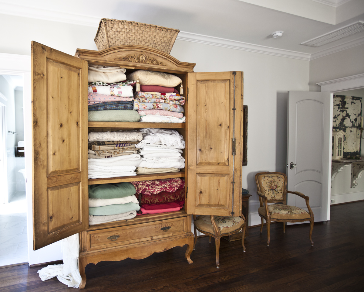 Antique Armoire Turned Linen Closet