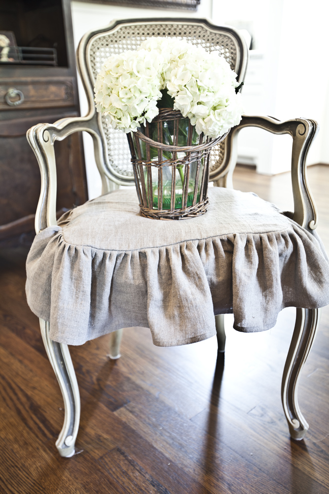 french slipcovered chair
