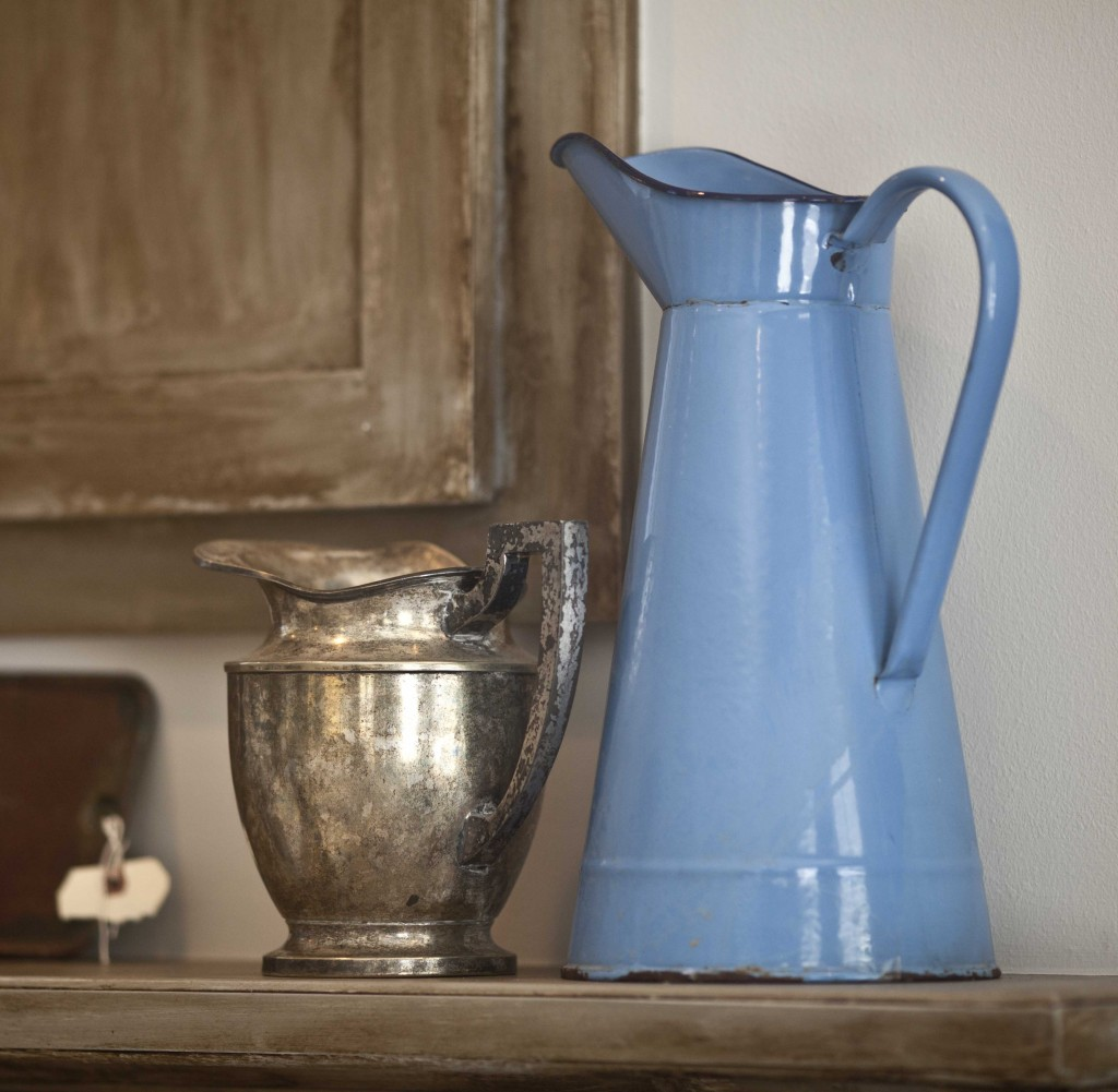 French blue enamel pitcher
