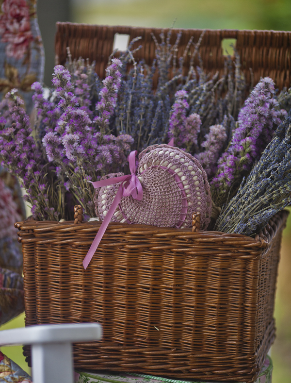 basket of flowers and heart