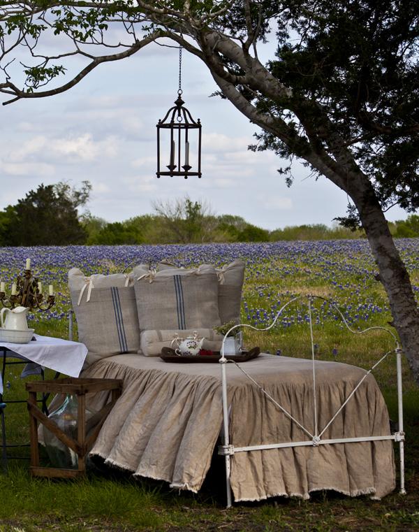 bed in field