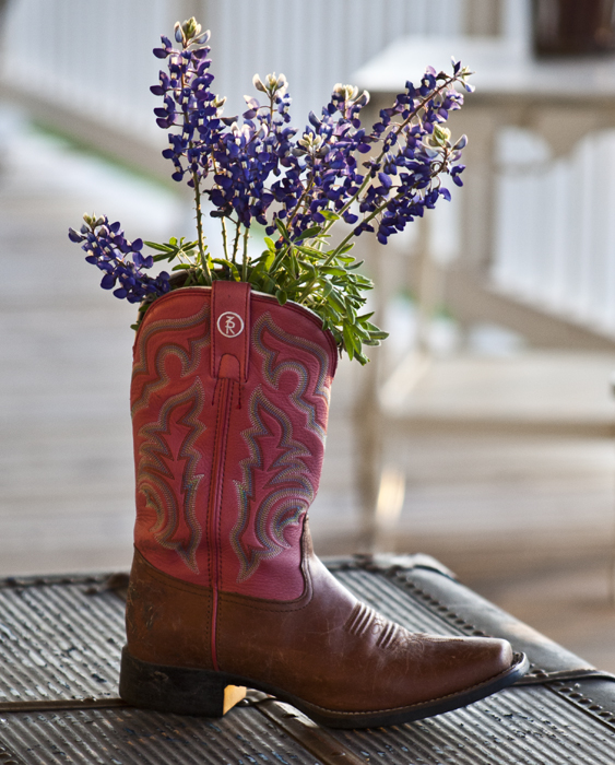 flowers in boot