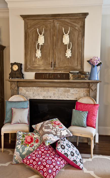 pillows fireplace 3