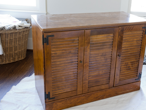i always wanted to paint the cabinet but never got to it until now i wanted the guest quarters to have a cottage feel and the stain on this piece wasnu0027t
