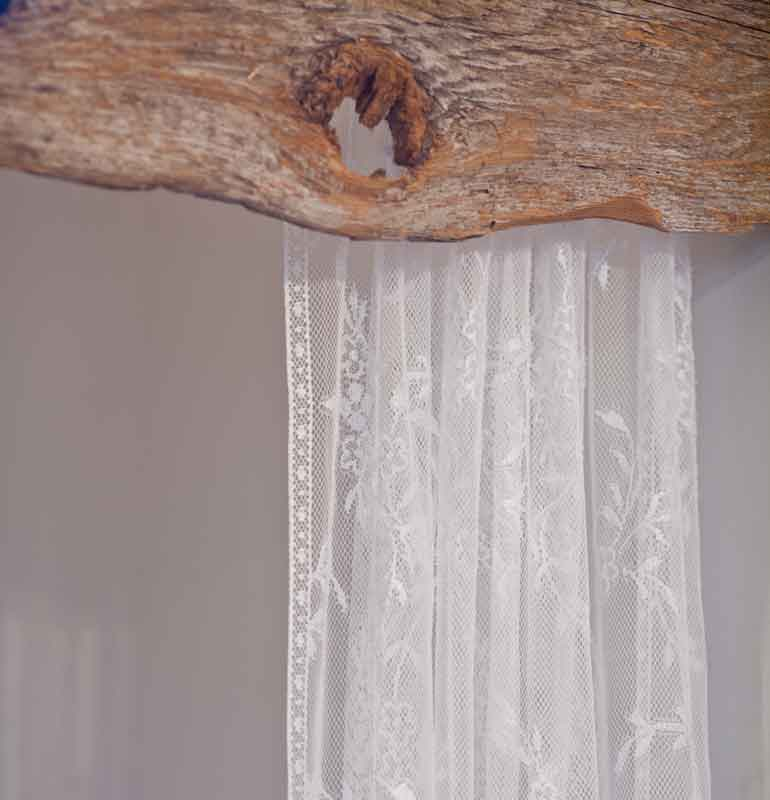 Then Placed These Gorgeous Lace Panels Behind The Wood Valence On A Shower Rod Which Reminds Me To Say That This Is NOT Proper Curtain