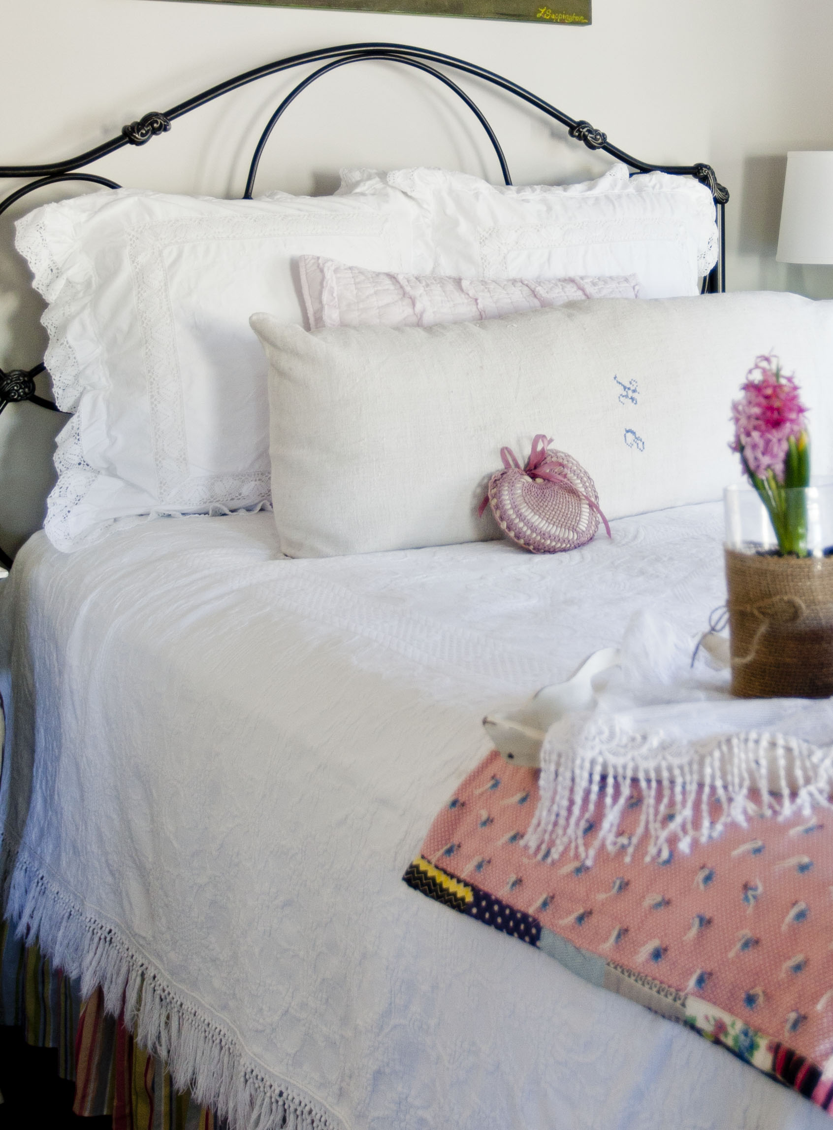 Cute Below the pillow shams are vintage cotton shams I thought they were so charming The bedspread below is vintage cotton