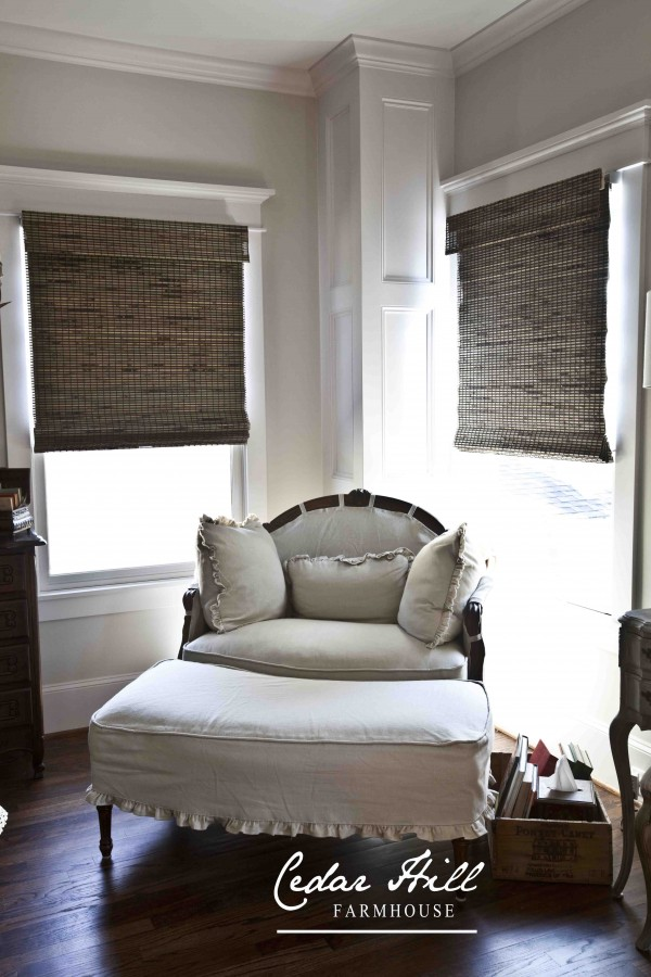 french chair and bamboo blinds