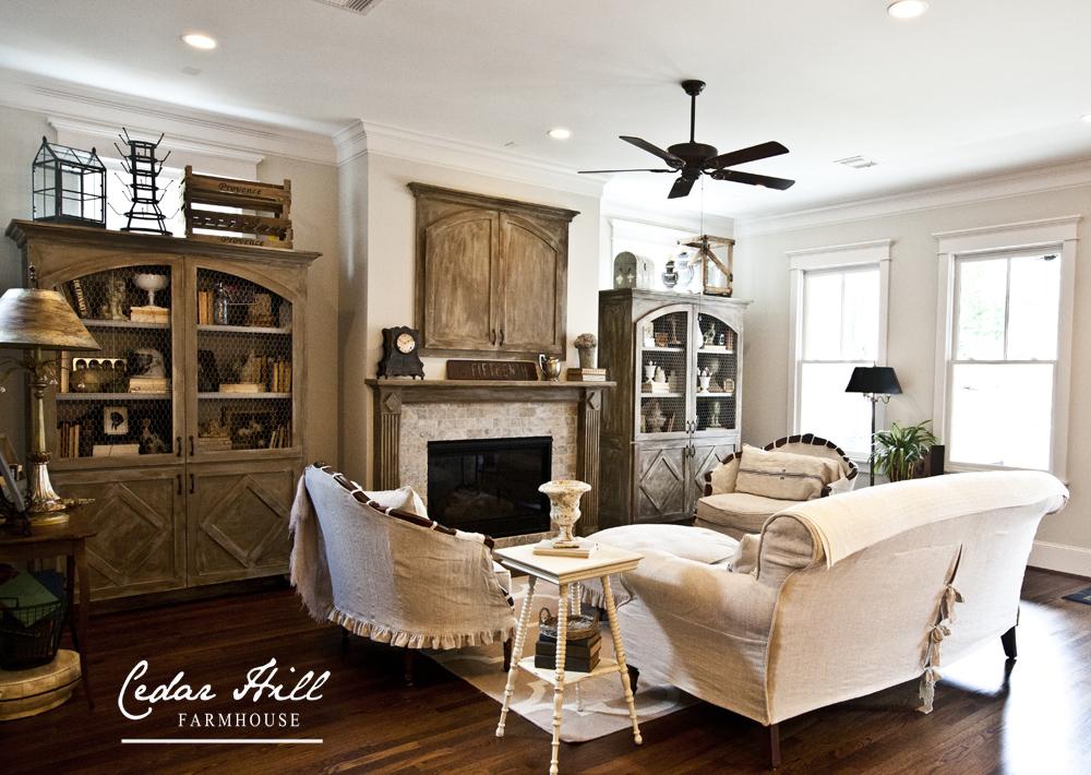 French linen living room