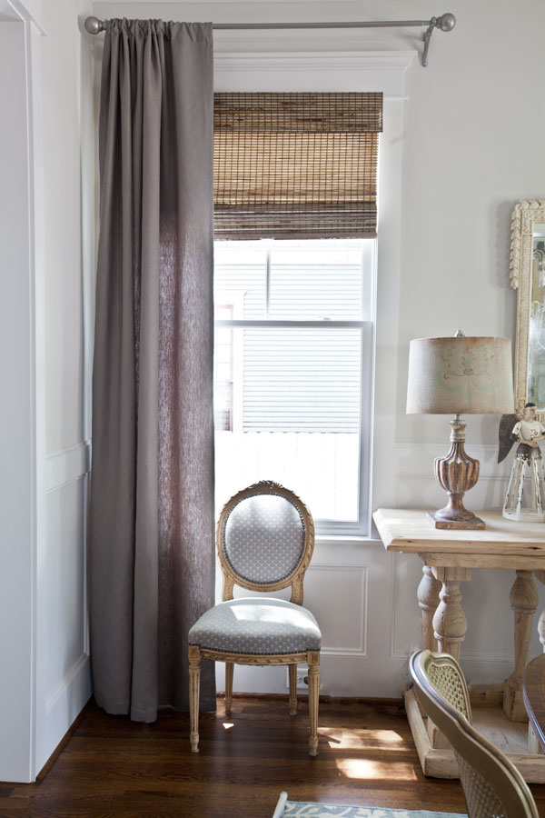 gray-linen-curtain-and-french-chair
