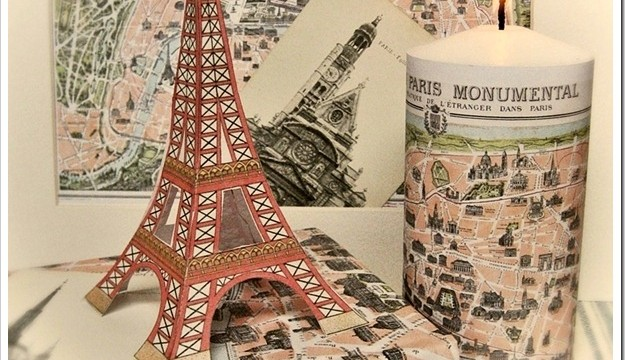 Vintage Paris Map Candles