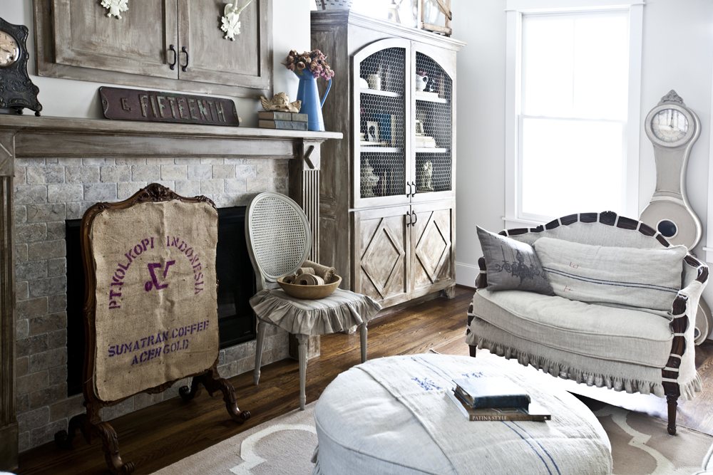 fireplace and armoire
