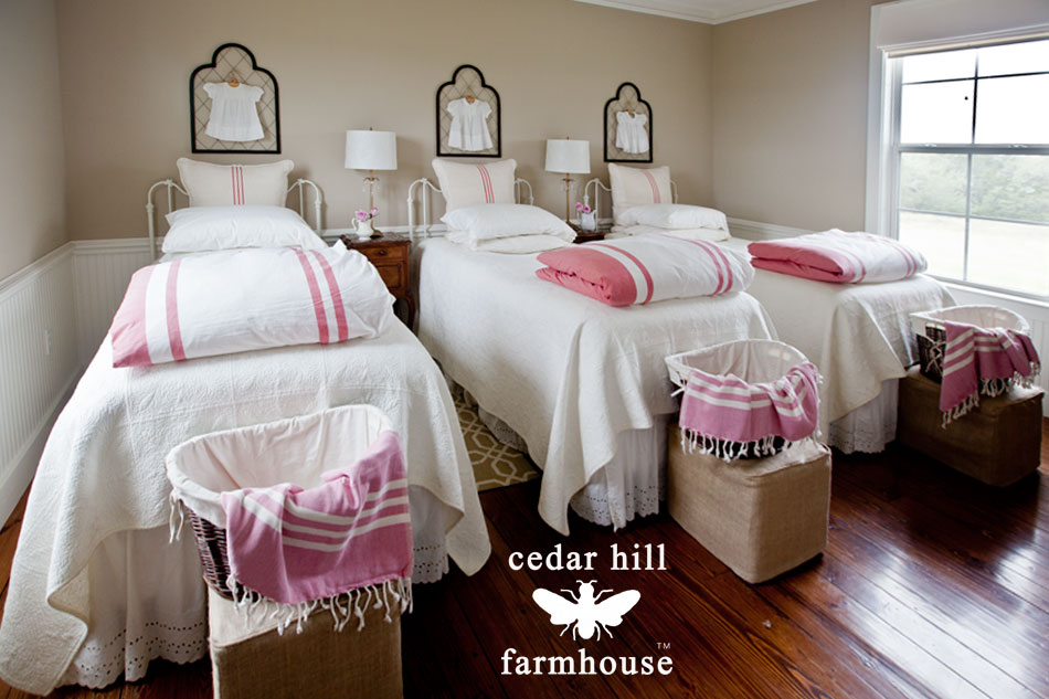 red-duvets-on-3-beds