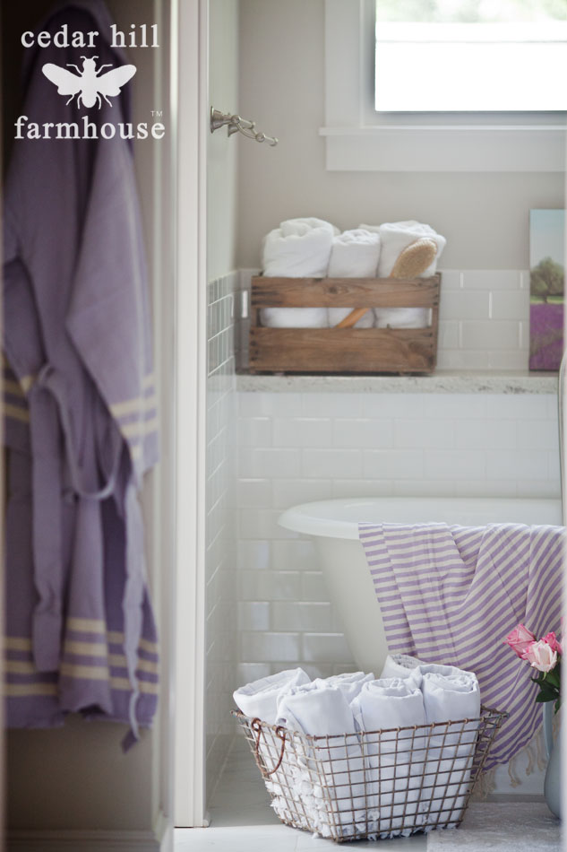 Decorating Bathroom Baskets Towels : How to decorate a bathroom cedar hill farmhouse