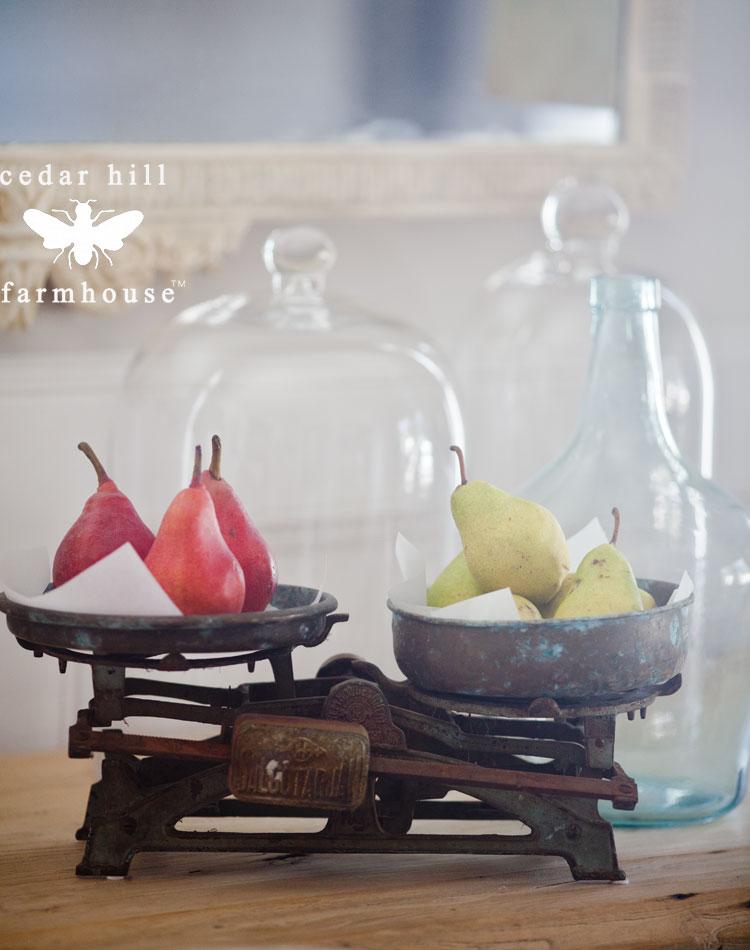 pears on vintage scale