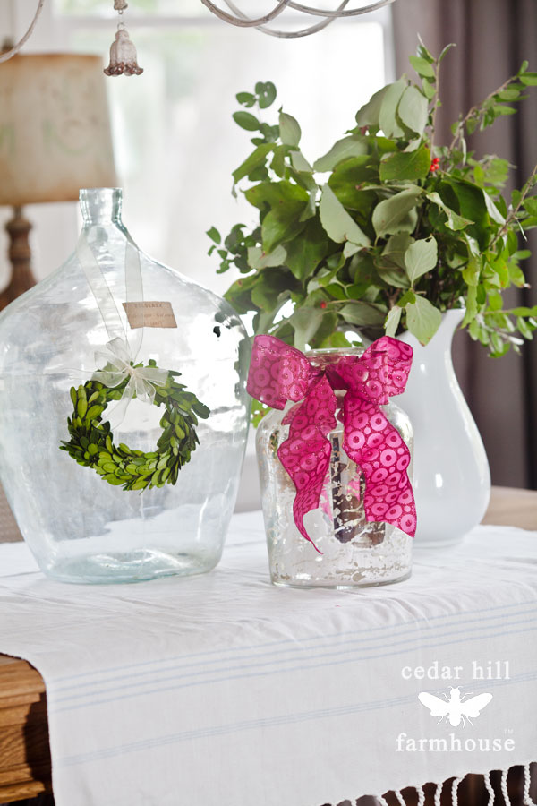 Pink ribbon and boxwood wreath
