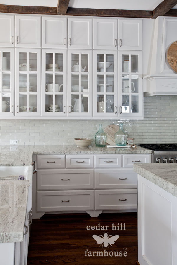 The best kitchen styling tip cedar hill farmhouse for White kitchen cabinets with glass
