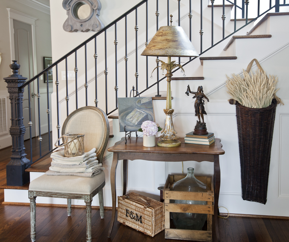 French table by iron stairs