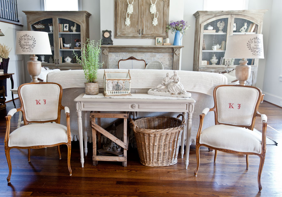 Red And White Grain Sack French Chairs