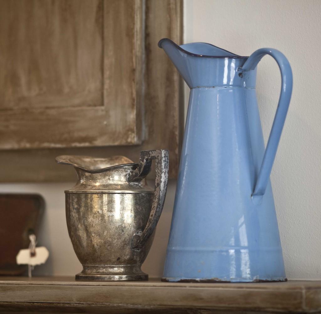 French blue enamel pitcher