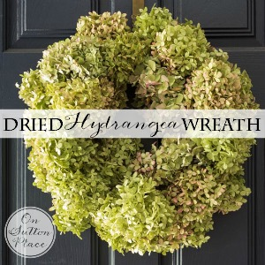 dried hydrangea wreath on sutton place