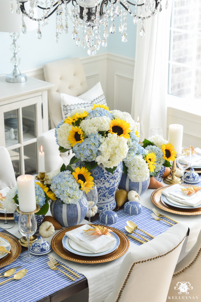 blue-and-white-thanksgiving-table-idea-with-sunflowers-