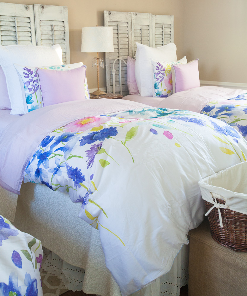 Farmhouse Bedroom With Watercolor Bedding