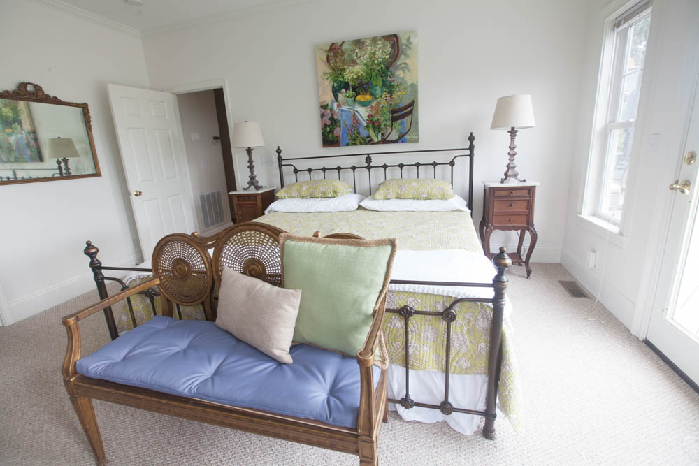 Settee and bed in mountain bedroom