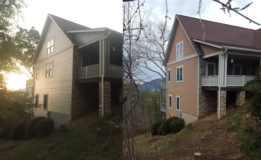 gray exterior paint side before and after