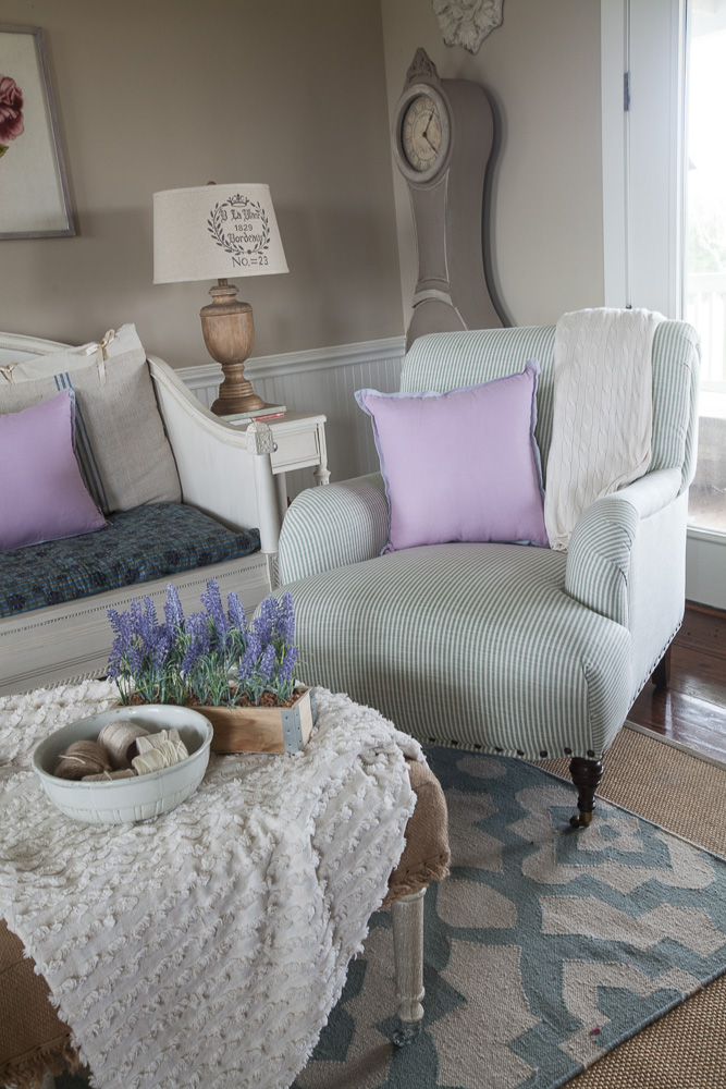 Budget friendly country French lavender and nubby throw