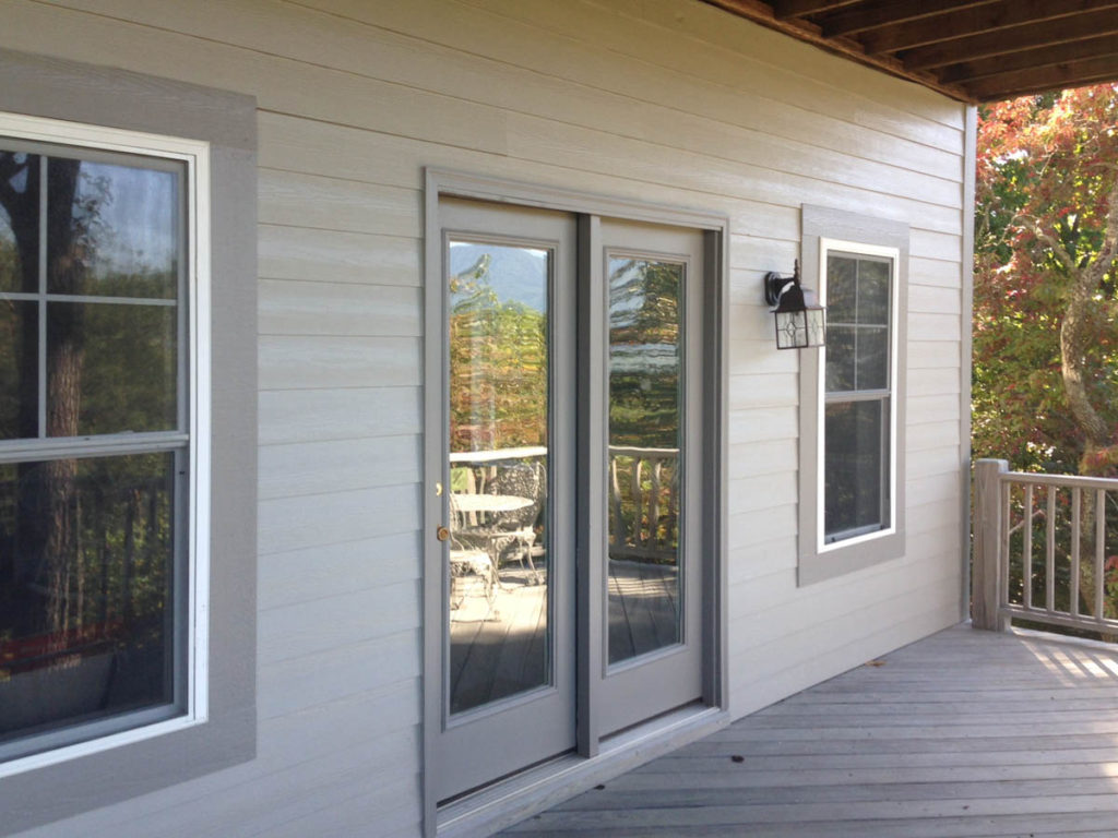 gray exterior paint back door