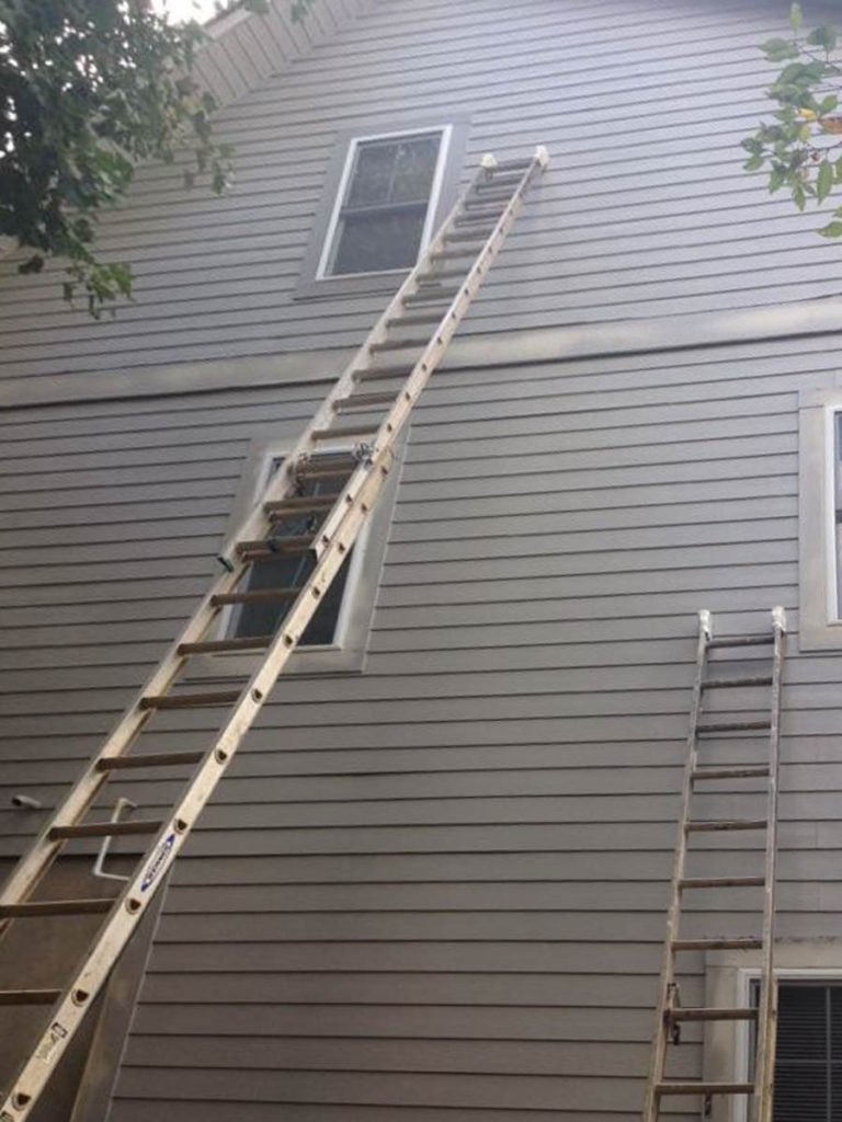 gray exterior paint ladders