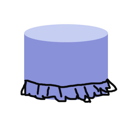 Slipcovered ottoman ruffle placement