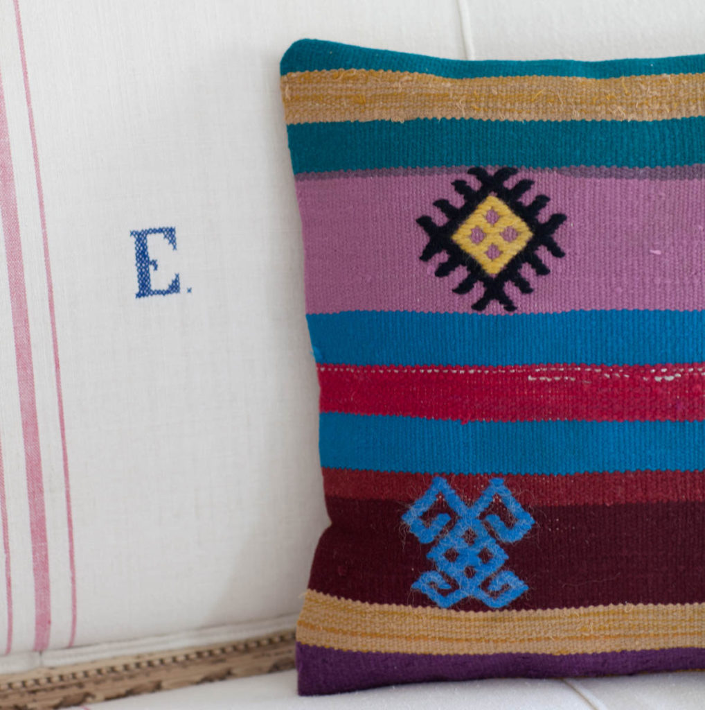 Kilim rugs made into pillows pink and blue