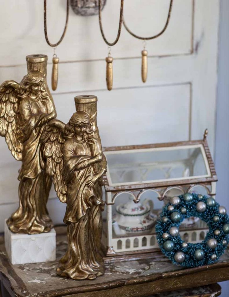 Country French Christmas gold angels pair