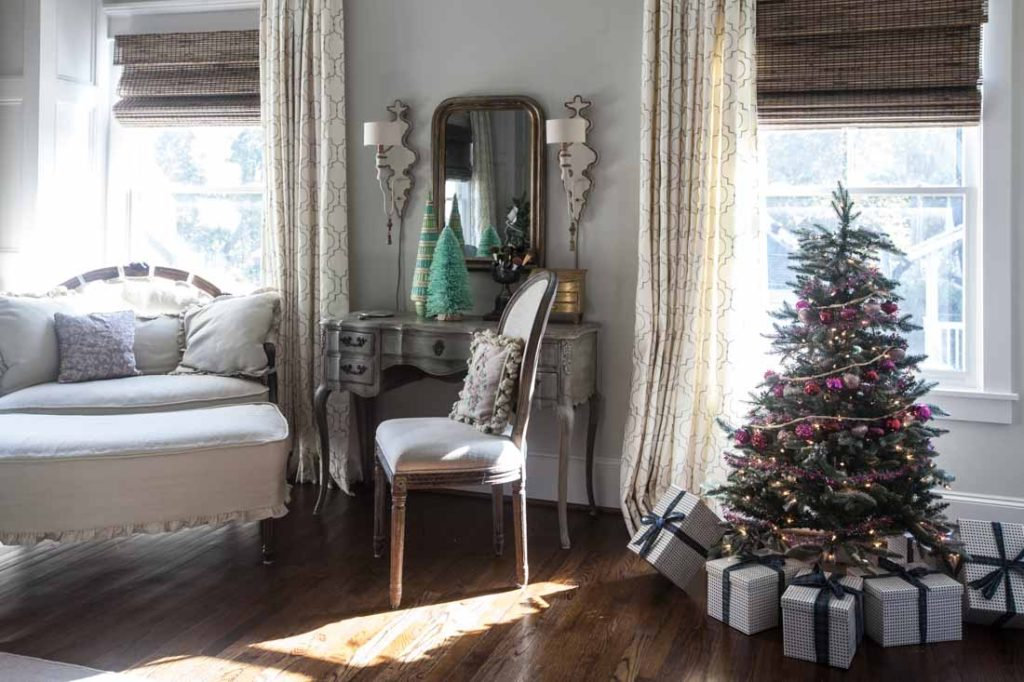 Country French Christmas bedroom