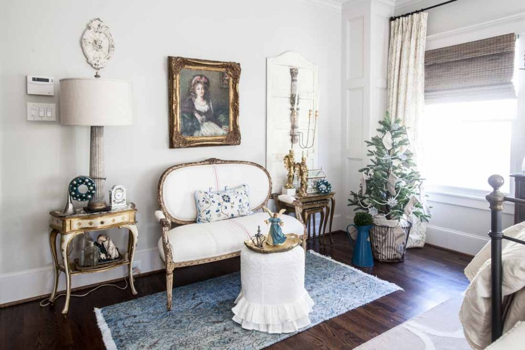 Country French Christmas blue and white