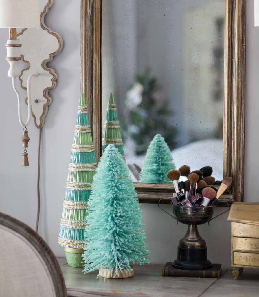 Country French Christmas bottle brush tree