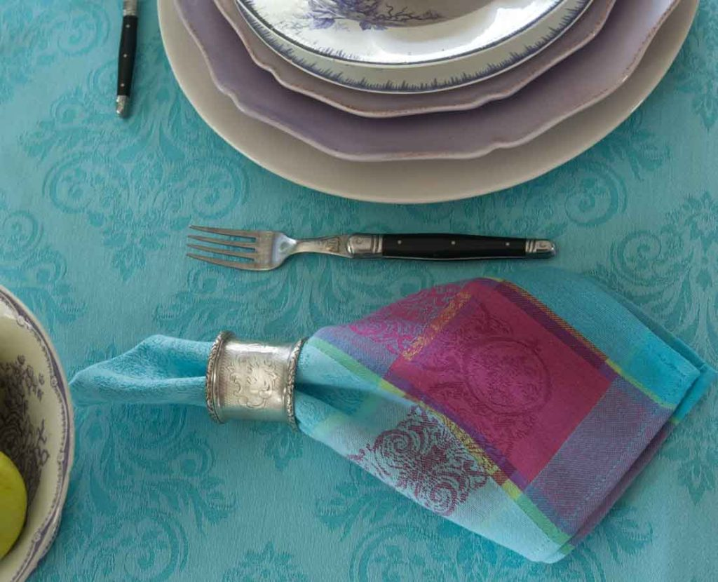 French tablecloths pink with napkin
