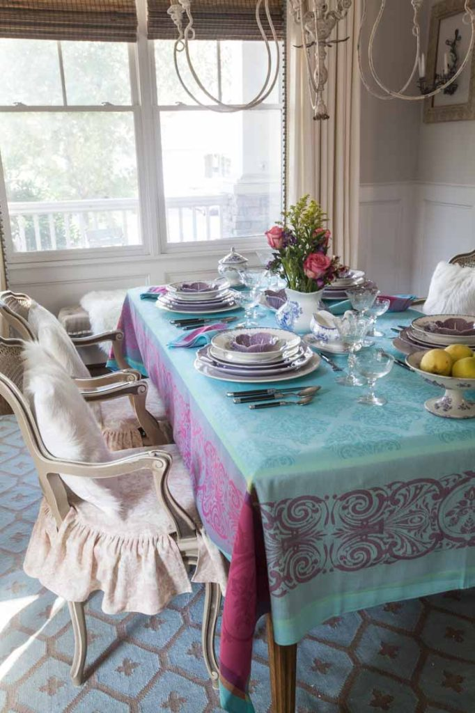 French tablecloths pink