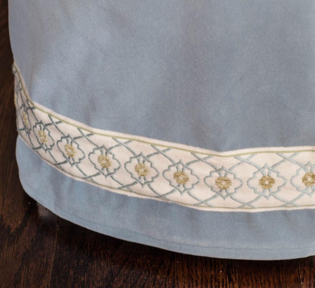 velvet ottoman slipcover hyacinth detail