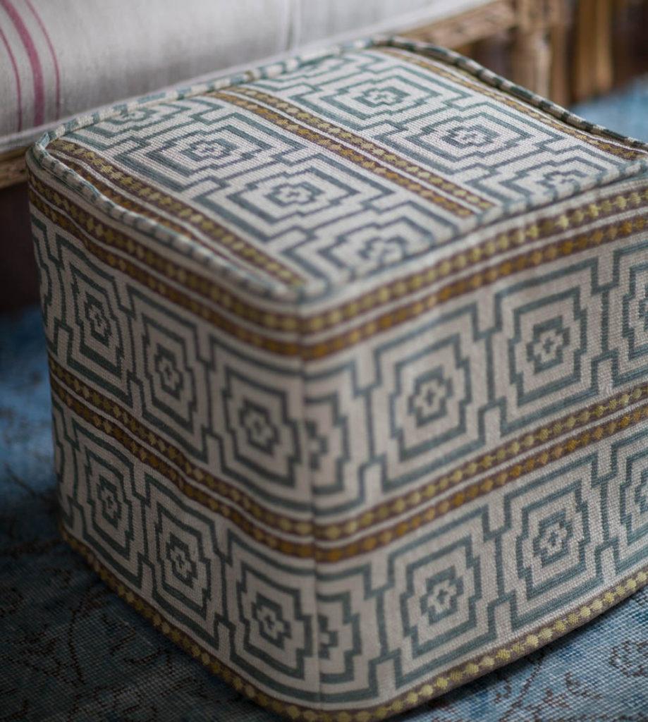 square ottoman slipcover closeup