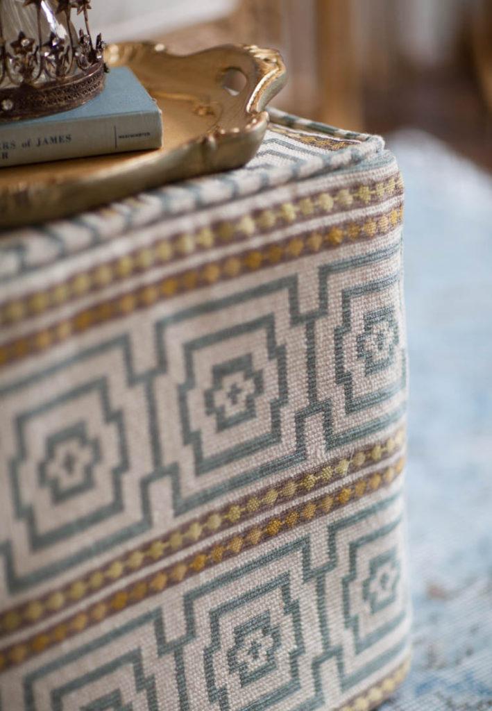 square ottoman slipcover corner
