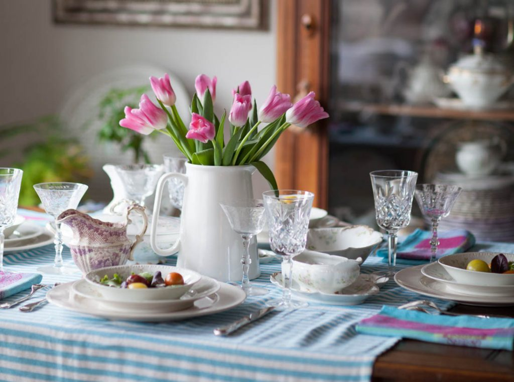 elegant colorful Easter table tulips