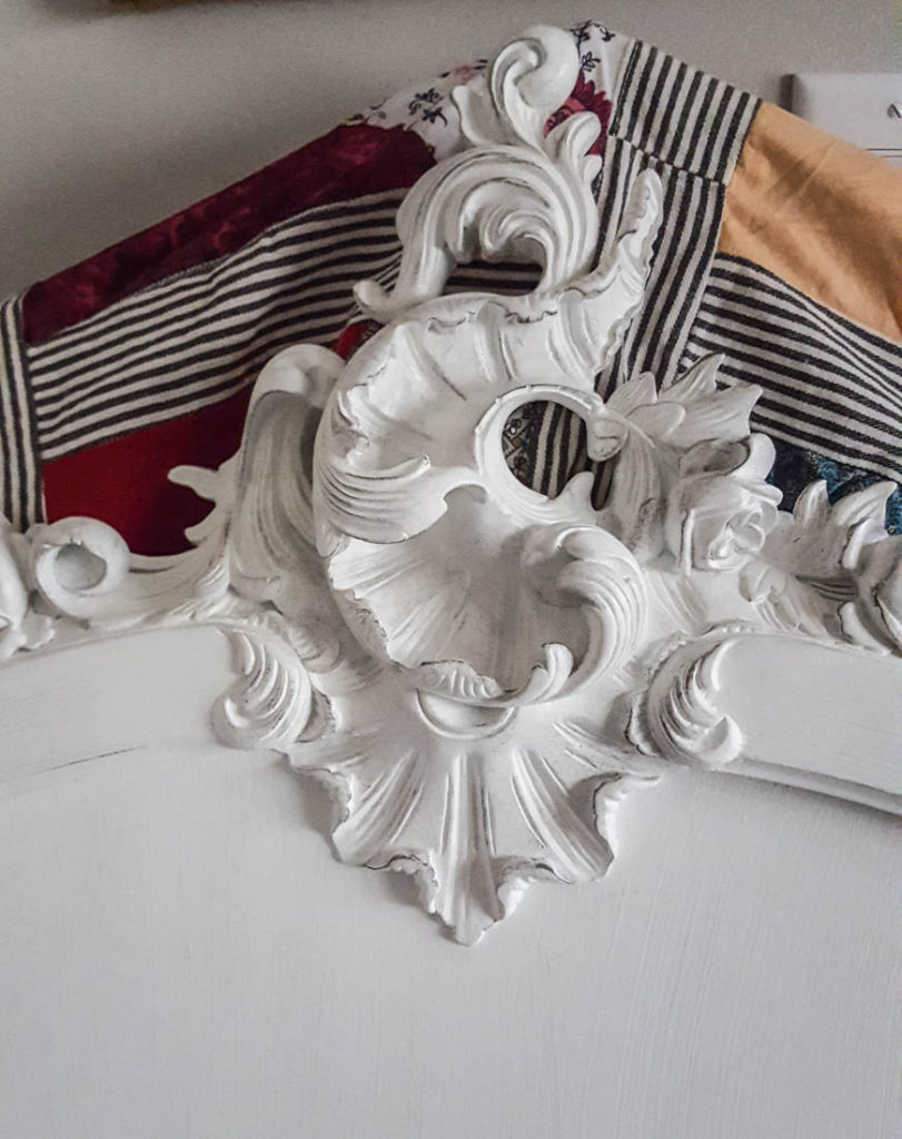 French bedroom details of headboard